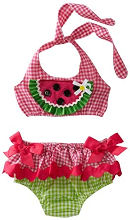 Mud Pie Baby-Girls Newborn Lil' Chick Watermelon Bikini, Multi-Colored, 0-6 Months