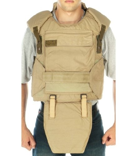 Body armor vest with shoulder and groin protection, Size M, color black