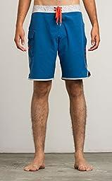 RVCA Men\'s Eastern Trunk Boardshort, Dark Blue, 34