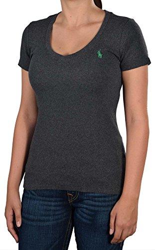 Polo Ralph Lauren Women'S Sport Cotton V-Neck Shirt-Heather Charcoal-Small