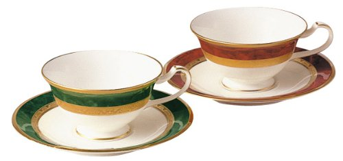 Noritake Bone China Fitzgerald Tea And Coffee Porcelain Bowl Plate Pair Set (Switched Colors) Y6988/47332 (Japan Import)