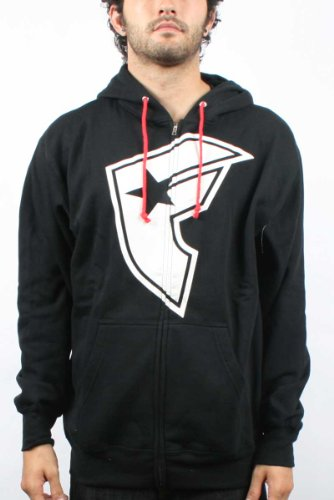OG BOH Mens Zip-Up Hoodie in Black / White by Famous Stars and Straps, Size: Large, Color: Black / White
