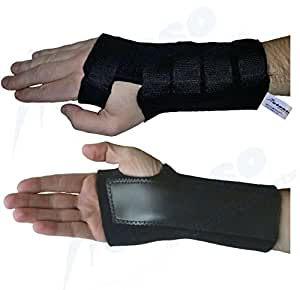 Actesso Advanced Black Wrist Support Wrist Splint for Carpal Tunnel, Sprains (Small, Left)