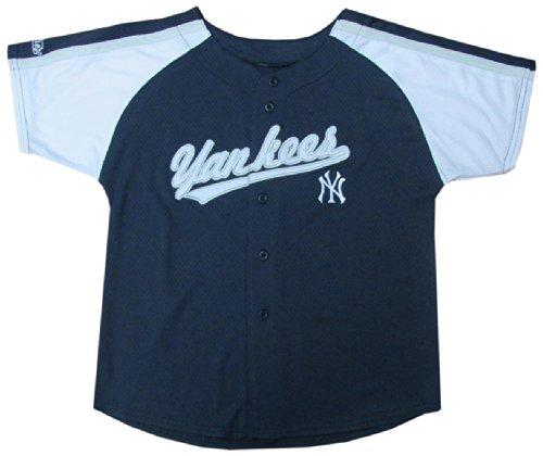MLB New York Yankees Boy's Colorblocked Buttondown Jersey, Navy, 4