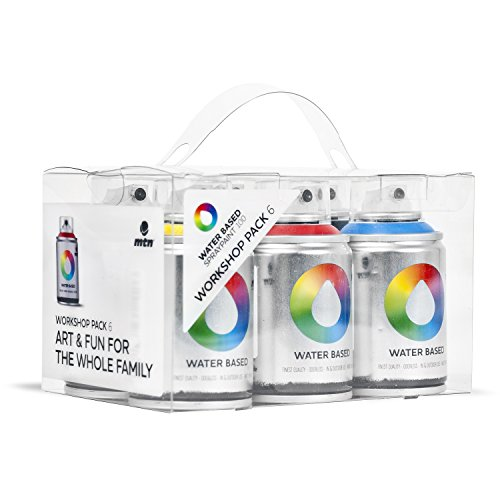 MTN Colors - Water Based Spray Paint Workshop Pack - 6 x 100ml Cans (Aerosol Spray Paint Pack compare prices)