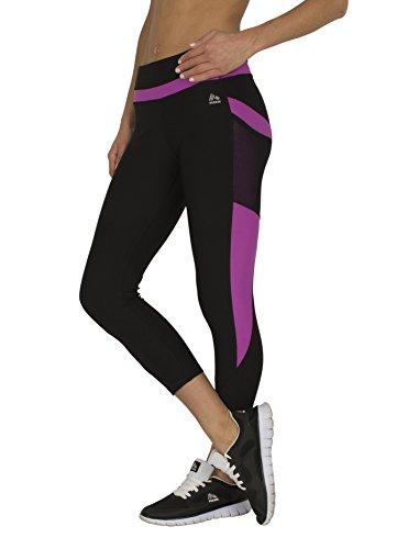 RBX Active Women's Capri Length Running Pants Black / Purple Combo Small