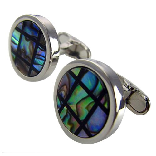 Worldfashion Fashion Abalone Shell Surface Cufflink Men's Easy-match Round Men's Cufflinks Come In a Nice Gift Box by WorldFashion