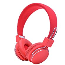 buy Ueb Bluetooth Wireless Bt Stereo Microphone Headphone With Hands-Free Calling Function, Audio Cable, Foldable Stereo Sound Earphones, Built-In Microphone, Red