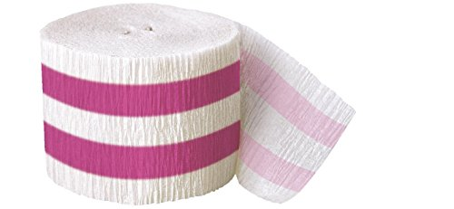 30ft Hot Pink Striped Crepe Paper Streamers