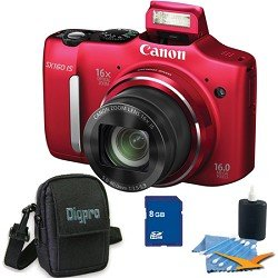 Canon PowerShot SX160 IS 16MP Digital Camera with 16x Wide-Angle Optical Image Stabilized Zoom with 3.0-Inch LCD (Red) Deluxe Bundle With 8 GB Secure Digital High Capacity (SDHC) Memory Card, Digpro Compact Camera Deluxe Carrying Case, Cleaning Kit