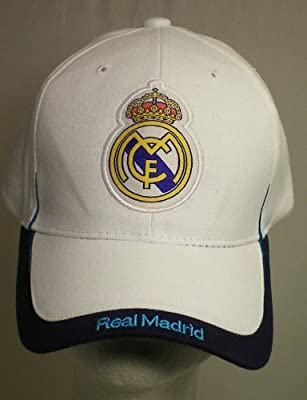 REAL MADRID FOOTBALL CLUB OFFICIAL LOGO SOCCER ADJUSTABLE CAP WHITE