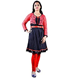 Faireno Tremend Short Red-Black Anarkali Tunic