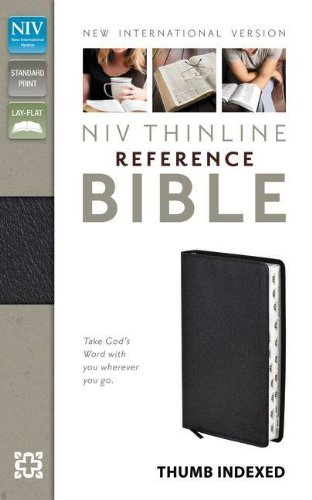 NIV, Thinline Reference Bible, Bonded Leather, Black, Indexed, Red Letter Edition