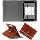 "Hello Zone Exclusive 360° Rotating 7"" Inch Flip Case Cover Book Cover For I KALL N5 4G VOLTE Calling Tablet -Brown"