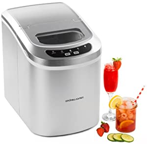 Andrew James Compact Counter Top Ice Maker Machine - New Slimline Model - 15kgs of Ice per 24hrs - No Plumbing Required + Includes 2 Year Warranty