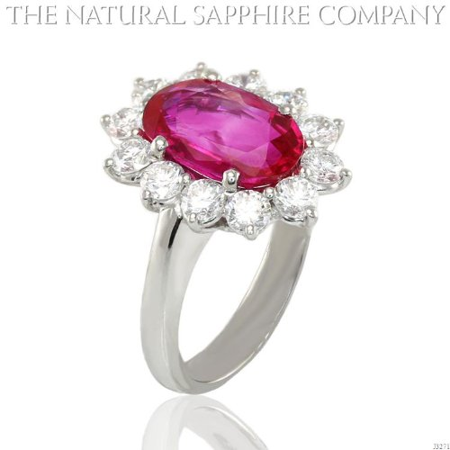 3.60ct Natural Untreated Burmese Ruby Platinum Ring with 1.44cts of Round Brilliant Diamonds