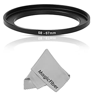 Goja 58-67MM Step-Up Adapter Ring (58MM Lens to 67MM Accessory) + Premium MagicFiber Microfiber Cleaning Cloth