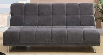 Plush Grey Microfiber Adjustable Sofa Bed by Poundex