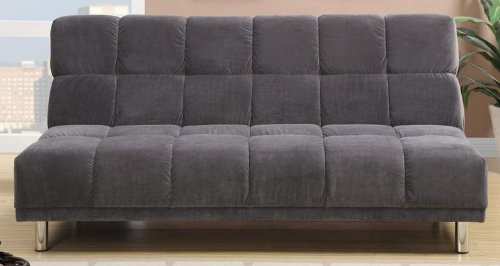 Plush Grey Microfiber Adjustable Sofa Bed by Poundex