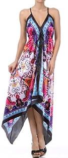 Sakkas Flower and Leaves Design Silk Feel Handkerchief Hem Adjustable Long Dress