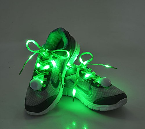 Flammi LED Nylon Shoelaces Light Up Shoe Laces with 3 Modes in 5 Colors Disco Flash Lighting the Night for Party Hip-hop Dancing Cycling Hiking Skating--Type C (Green) (Led Light Up Shoe Laces compare prices)