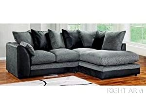 Dylan Byron Corner Group Sofa Black and Charcoal Right or Left from W.Laskowski - Furniture Factory