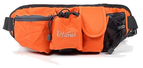 Clarus(クラルス) 大容量 ウエストポーチ ウォーキング ランニング ジョッキング 自転車 旅行 登山 大型スマホ ペットボトル収納 (オレンジ)