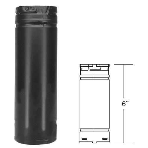Dura-Vent DuraVent 3PVP-06B 6'' Straight Length Pipe Black,