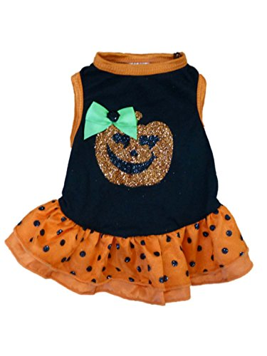 Simply Dog Costume Orange & Black Polka Dot Glitter Pumpkin Pet Outfit Shirt (Pumpkin Outfit For Dogs)