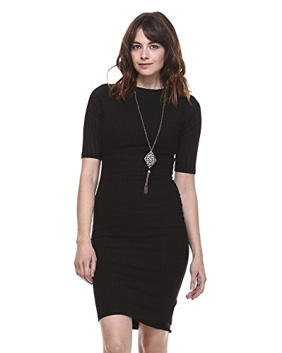 AMIE Finery Boutique Midi Dress With Stylish Texture For Everday Wear Small Black