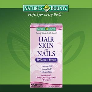 Nature's Bounty Hair Skin and Nails 5000 mcg of Biotin per Serving – 250 Coated Tablets