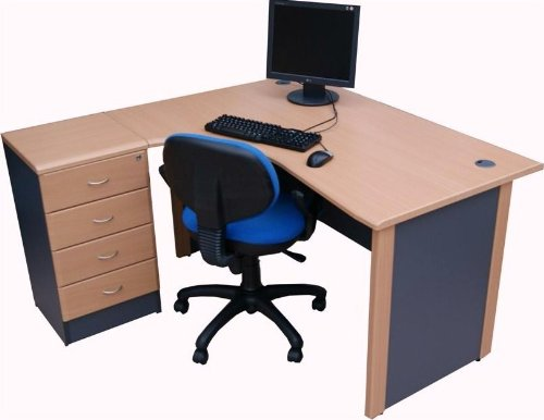 1.4M Radial Corner desk LEFT hand with 4 drawer pedestal - Beech colour