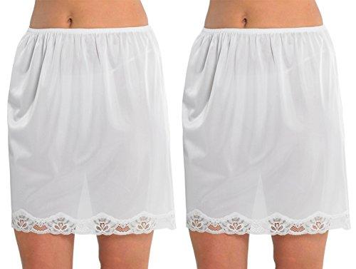 2-Pack-Womens-Damen-Unterrock-Slip-mit-Lace-Trim-100-Polyester-resistentes-Cling-18-Zoll-Lnge-45cms-verschiedene-Farben-Gren-Creme-24-26