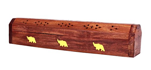 Regal Christmas Holiday Gifts Hand Carved Wooden Coffin Incense Stick / Cone Burner Holder with Storage Compartment, 12 x 2 x 2.5 inches