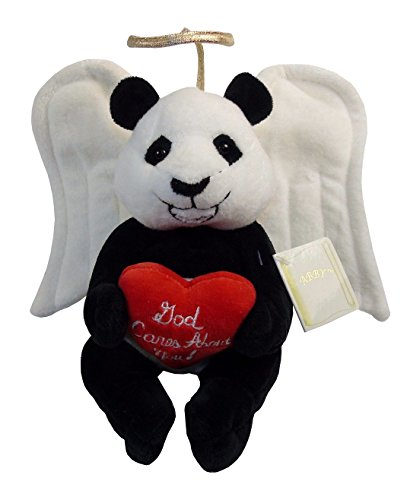"10"" Plush Guardian Bear, Angel Bear. Stuffed Animal Guardian Angel Bear. Plush Halo Bear, Soft, Cute, Cuddly and Comforting, Mini Heart Pillow That Says ""God Cares About You"", Tag With Nice Bible Verse, Lift A Spirit."