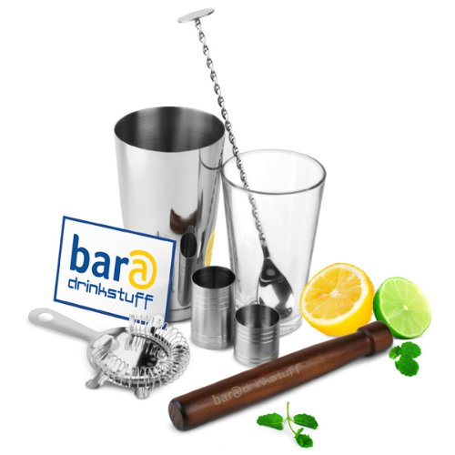 bar@drinkstuff Home Cocktail Set - Boston Cocktail Shaker Set - Cocktail Making Kit in Recyclable Gift Box with Boston Cocktail Shaker Tin & Glass, Hawthorne Cocktail Strainer, Muddler, Twisted Mixing Spoon, 25ml & 50ml Thimble Bar Measure
