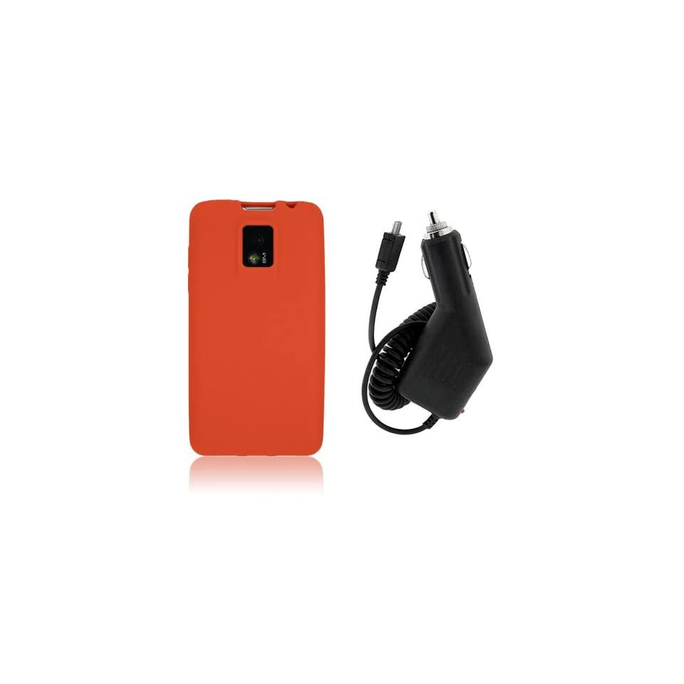 LG Optimus 2x P990 / G2X P999   ORANGE SOFT SILICONE SKIN CASE COVER + CAR CHARGER [AccessoryOne Brand]