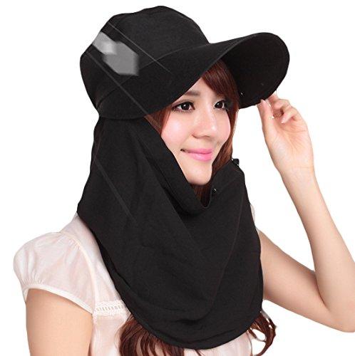 【AKEMIDO】 UVカット帽子 レディース 紫外線対策 日焼け防止 3WAY ツバ広 ブラック