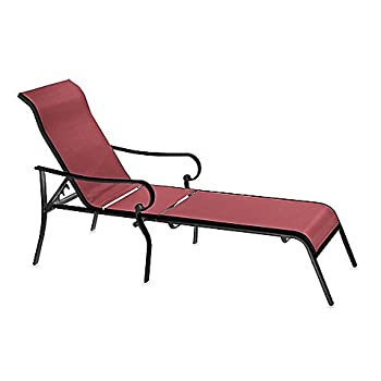 Indoor / Outdoor Oversized Adjustable Sling Chaise Reclining Patio Lounge Chair (red)