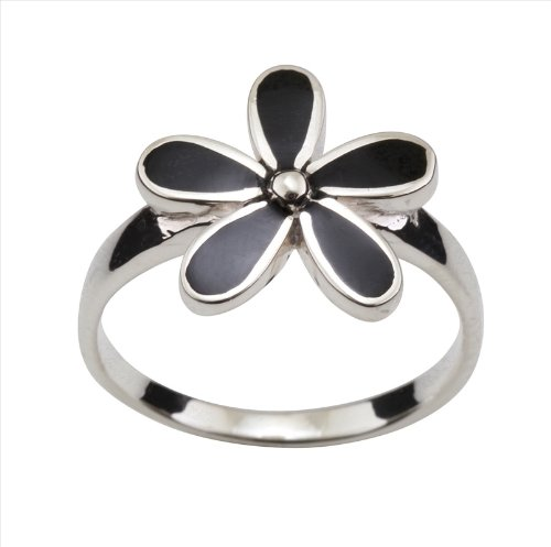Onyx & 925 Sterling Silver Flower Ring