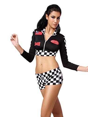 Beauty's Love Women's Long Sleeved Racing Costume One Size Black