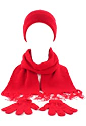 Winter Girls Kids Age 4-9 Knit Scarf Beanie Hat Cap Glove Ski Snow Combo Set Red