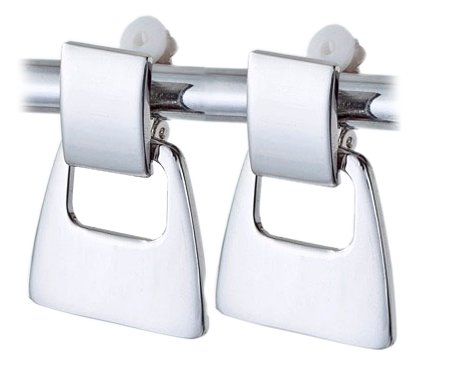 Stylish Silvertone Square Drop Clip Earrings