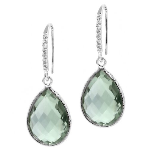 13.00 Ct Genuine Green Amethyst 16X12MM Pear Shape 925 Sterling Silver Dangle Earrings