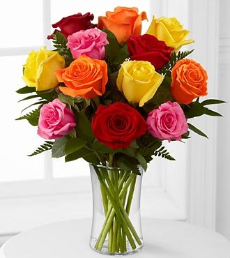 FTD Flowers Valentines Mixed Roses With Vase