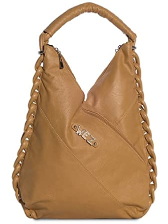 Faux Leather Tall Hobo Purse w/Distinguished Braid- Tan