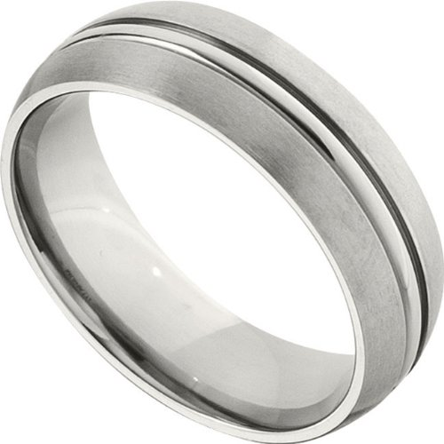 Titanium, Polished Groove and Satin Edge Wedding Band (sz 11)