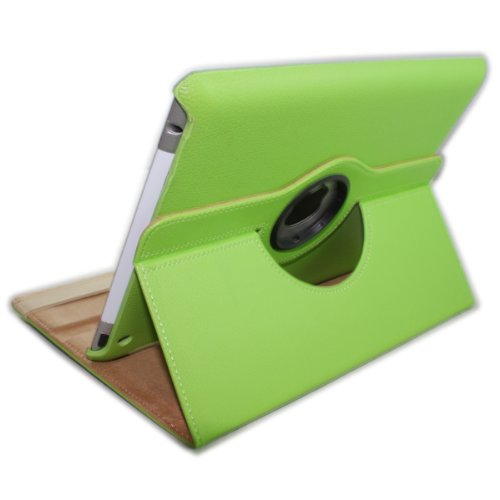 Koolertron (TM) Green Smart Leather Stand Case Cover+LCD Screen Protector+Touching Pen+Dustproof Plug+Earplug for Ipad 2 Wake Sleep Can Rotate 360 Degree