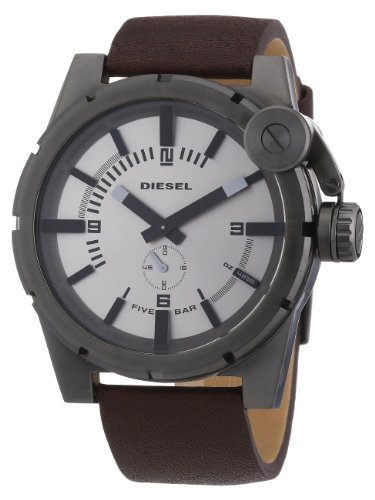 beseriet diesel dz4238 montre homme quartz analogique cadran gris bracelet cuir marron. Black Bedroom Furniture Sets. Home Design Ideas