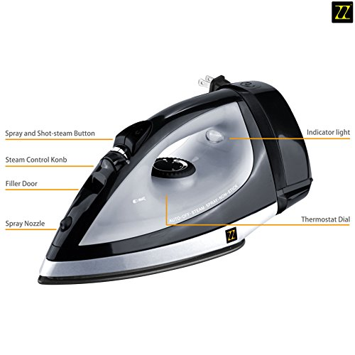 ZZ ES223 Auto-Off Steam Iron with Automatic Cord Rewind System, Black